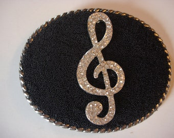Beaded Belt buckle Womens - Rhinestone Musical Note