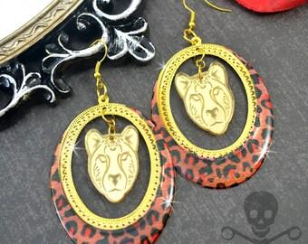 WILD GIRL - LEOPARD and Cheetah Gold Laser Cut Acrylic Charm Hoop Earrings