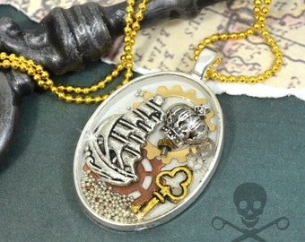 NOT ALL Who WANDER- Resin Steampunk Decoden Pendant Necklace
