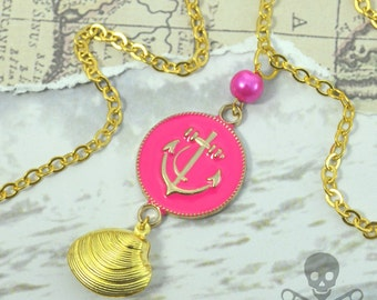 BEACH LOVE- Gold Accented Hot Pink Anchor Coin and Gold Clam Necklace