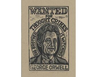 Art, Literary Art Print, George Orwell Linocut Print, Art Print George Orwell Linocut Print Wall Art