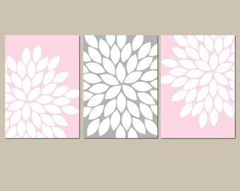 Pink Gray Nursery Baby Girl Nursery Wall Art, Girl Bedroom Pictures, CANVAS or Prints Girl Nursery Artwork Set of 3
