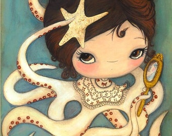 Octopus Print Nautical Girl Starfish Wall Art---Vanity Girl
