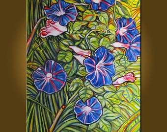 Morning Glories -- 20 x 24 inch Original Oil Painting by Elizabeth Graf on Etsy, Art & Collectibles, Art Painting