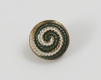 Antique Small Painted Metal Thread Back Button