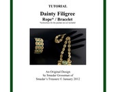 Beading Tutorial, Dainty Filigree Chain Necklace and Bracelet. Jewelry Pattern with Seed Beads and Crystals. Beadweaving, Necklace Pattern