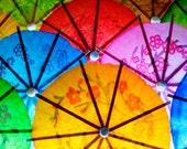 Umbrellas Photograph, Cocktail Drink Umbrellas, Rainbow Colors, Bright, Colorful, Vibrant Wall Art, 8x12 - 24x36, Sombrillas