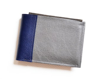 Mens Wallet, Leather Wallet with Detachable ID Holder - The Wesley Wallet in Granite Grey