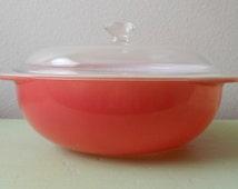 Vintge 50s Flamingo Pink 2 Quart Pyrex 024 Casserole Dish with Lid 1960s MCM Mid Century Kitchen Ovenware