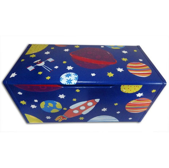 Space Toy Box - Hand-painted / Children's Personalised Storage Box ...