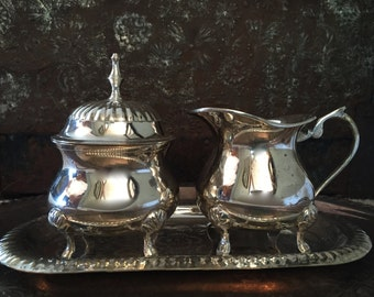 International Silver Silverplate made in India Creamer Sugar Dish and Tray TYCAALAK
