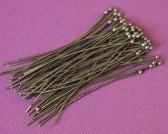 Sale ----- 100pcs of Antiqued Brass Ball end headpin - 22G - 1.75 inch