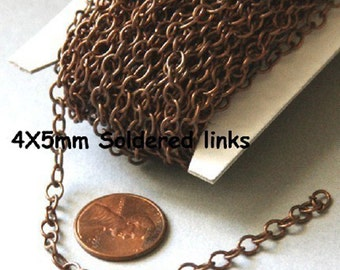 32ft spool of Antiqued copper plated round cable chain 4X5mm - Soldered Links