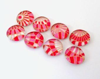 SALE- Pink Checks - set of 8 Glass Magnets