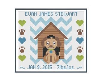 Puppy Boy Birth Announcement Cross Stitch Pattern Instant Download
