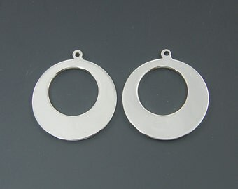 Silver Round Hoop Earring Findings Minimalist Simple Everyday Jewelry |S12-4|2
