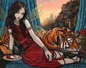 SALE Tatiana Teagan Embellished Ltd Canvas Print 8x10 inch Fairy Queen Tiger Sunset City