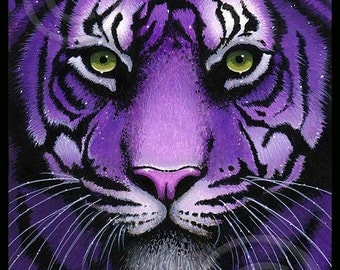 Fiala Signed 4X6 PRINT Purple Tiger Big Cat