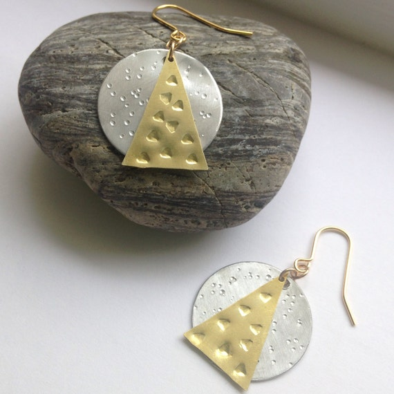 Geometric Brass & Aluminium Earrings - Triangle - Moon - Gypsy - Festival - Frida Kahlo - Tribal - Pattered - Textured - Hammered - Silver