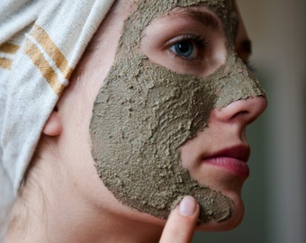 Face mask, facial mask, face clay mask,  best face mask, mud mask, oily skin, natural skin care, handmade by queen of the meadow, 4 oz