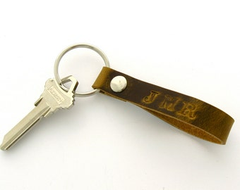 Personalized Key Fob Mens Leather Monogrammed Key Fob Brown Leather Key Ring Monogrammed Leather 3rd Anniversary Gifts Under 25 Handmade