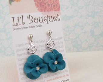 Teal Flower Earrings - Polymer Clay & Sterling Silver