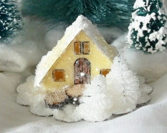 Vintage Putz Style Miniature Pale Yellow Glitter Sugar House with White Trees for Christmas Village or Ornament