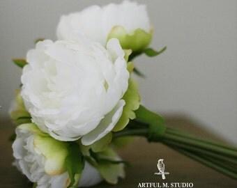 Clearance! Ivory Cream Peony Silk Bouquet DIY wedding