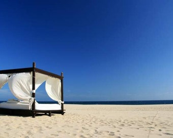 SALE: beach photography (blue sky golden sand white cabana summer vacation Los Cabos travel photography wall art home decor photo print)
