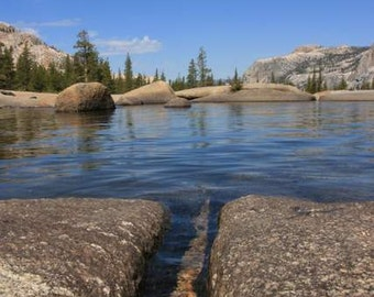 Romantic Yosemite - Flowing Wide (clear water blue sky landscape photo print, California national park nature photography, grand scenic)