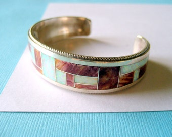 Zuni Sterling Silver Fire Opal and Spiny Oyster Inlay Cuff Rick and Glendora Booqua