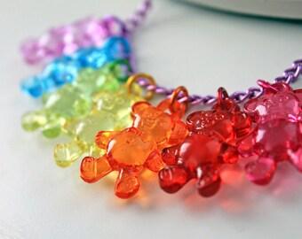 Necklace 7 Little bears rainbow kawaii  original choker cute harajuku