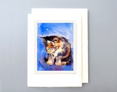 Blank Card / Black brown tabby cat art / Greeting card / Watercolor note card / Kitten card / kitty cat painting / Watercolor / 7 x 5 A7