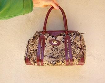 Vintage tapestry bag / 70s 80s floral brocade bag / burgundy leather carpet tote handbag