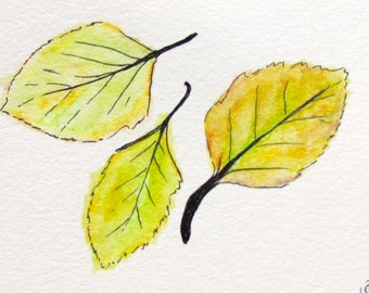 Summer Solstice Leaves ACEO watercolor painting on paper