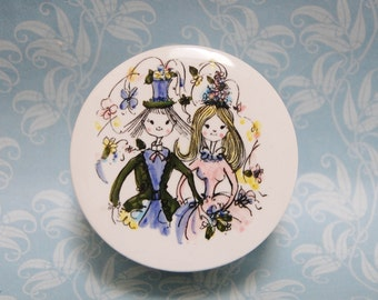 Mid Century DeVilbiss Porcelain Box 1960s Wedding Vintage Bride and Groom Ceramic