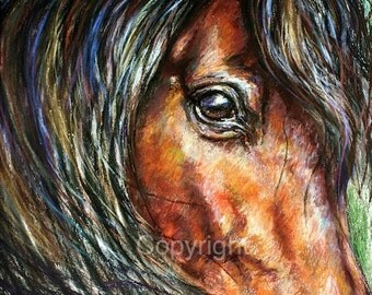 Horse eye drawing-Original Horse Painting-Horse Art-'Gaze'