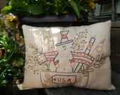 Hand Stitched Decorative Pillow, Uncle Sam, Americana, USA, Patriotic, USAFAAP
