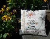Decorative Pillow, Summer, Hand Stitched, Pillow, Daisy, Bee, Bee Hive, Honey