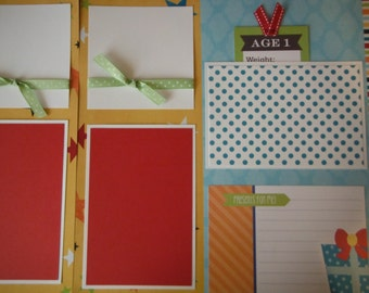 Happy 1st Birthday 2 Premade 12x12 Scrapbook Pages for Family Girl Boy Daughter or Son