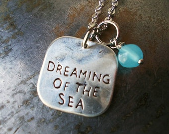 Blue sea necklace, dreaming of the sea necklace, beach, ocean, nautical, coastal jewelry, silver plated charm necklace pale blue opal glass
