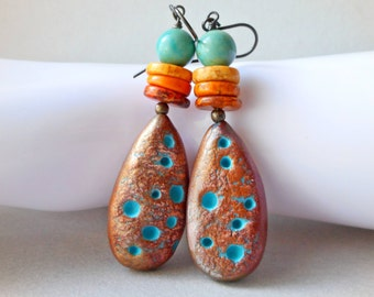 Organic nature earrings  handmade artisan jewelry polymer clay & stones blue turquoise and orange yellow magnesite brass bronze fimo boho