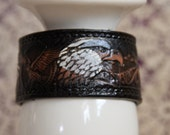 Adjustable Leather Bracelet Cuff Embossed with BALD EAGLE Mountains  Emblem Upcycled  7 to 8.50 inches No. C108 Size