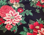 1 3/4 Yards of Vintage VIP Print Cranston Print Works Red and Green Poinsettias Christmas Print Cotton Fabric