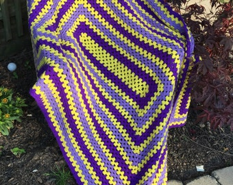 Vintage Purple and Yellow Hand Crochet Afghan/Lap Throw