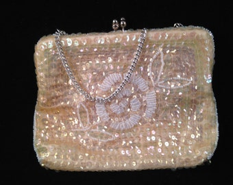 Vintage Ivory Sequins Clutch Purse/Handbag with Silver Chain Handle