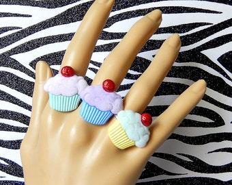 Cupcake Ring, Miniature Food,  Kawaii Dessert Jewelry, Fairy Kei, Adjustable Fuzzy Statement Ring