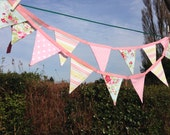 Stripes polka dots and floral pink and blue bunting birthdays, nursery, childrens room, baby girl, baby showers