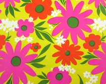 Vintage All Occasion Retro Mod Floral Wrapping Paper or Gift Wrap Orange Magenta White Flowers on Yellow Background
