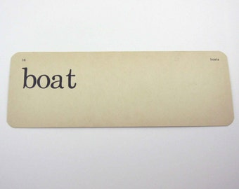 Vintage 1950s Children's Ivory School Flash Card with Word for Boat by Scott, Foresman and Co.